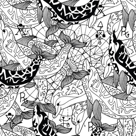 Nahtloses Muster mit schwarz-weiß dekorierten Delfinen. Esoterisches, okkultes und mysteriöses Konzept mit heiligen Geometrieelementen, grafische Vektorillustration