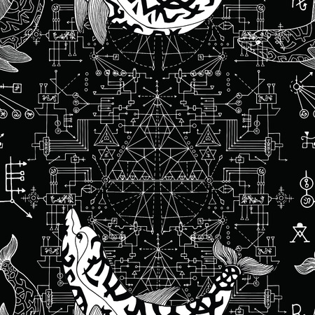 Seamless pattern with dolphin and sacred geometry concept. Esoteric, occult and mysterious concept with sacred geometry elements, graphic vector illustration Illustration