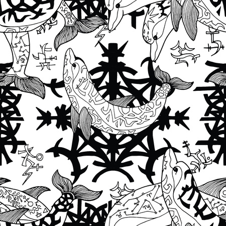 Seamless pattern with gothic symbols and dolphins on white. Esoteric, occult and mysterious concept with sacred geometry elements, graphic vector illustration