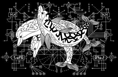 Three dolphins against white pattern with sacred geometry on black. Esoteric, occult and mysterious concept with sacred geometry elements, graphic vector illustration