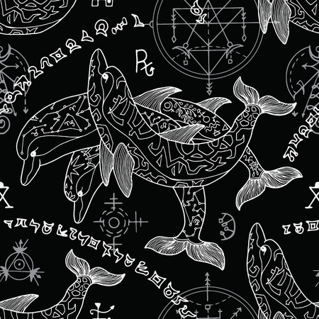 Seamless background with silhouettes of dolphins and mystic symbols on black. Esoteric, occult and mysterious concept with sacred geometry elements, graphic vector illustration Illustration