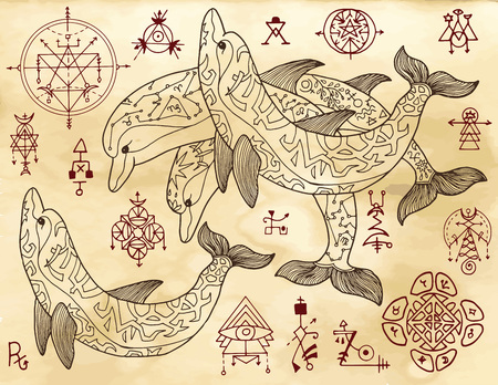 Design set with dolphins and mystical symbols on old texture background. Esoteric, occult and mysterious concept with sacred geometry elements, graphic vector illustration Stock Vector - 107975809