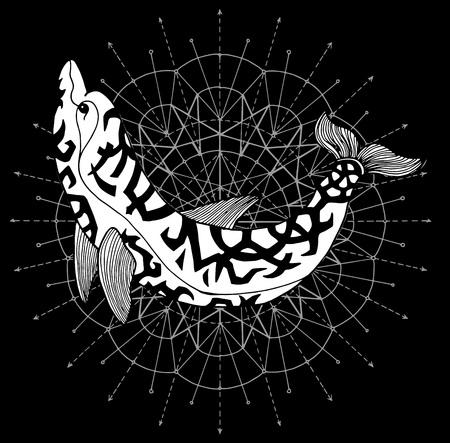 Delphin gegen Hintergrund mit weißem Kreis auf Schwarz. Esoterisches, okkultes und mysteriöses Konzept mit heiligen Geometrieelementen, grafische Vektorillustration Vektorgrafik