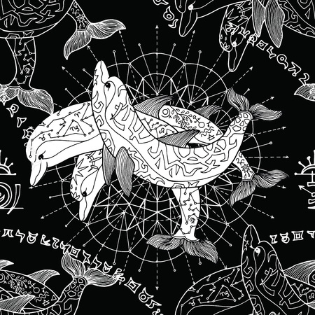 Seamless background with silhouettes of three dolphins and pattern circles on black. Esoteric, occult and mysterious concept with sacred geometry elements, graphic vector illustration