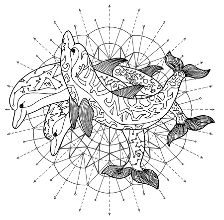 Black and white drawing of three dolphins against pattern circle. Esoteric, occult and mysterious concept with sacred geometry elements, graphic vector illustration Illustration