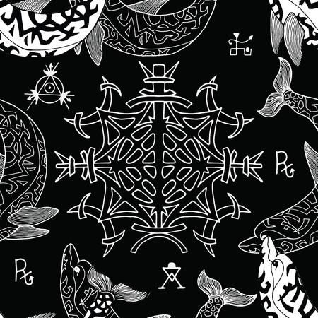 Modèle sans couture avec symboles gothiques et dauphins sur fond noir. Concept ésotérique, occulte et mystérieux avec des éléments de géométrie sacrée, illustration vectorielle graphique