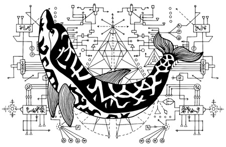 Black and white dolphin against sacred geometry background. Esoteric, occult and mysterious concept with sacred geometry elements, graphic vector illustration