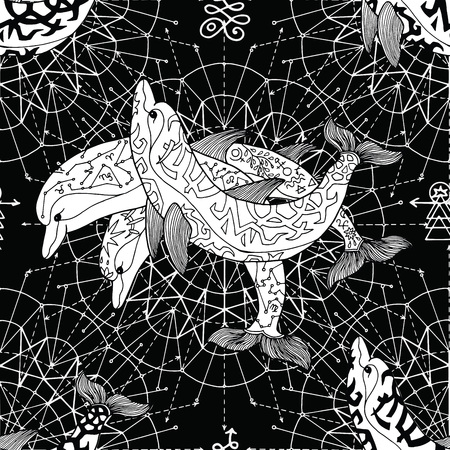 Seamless background with three dolphins and, pattern circles on black. Esoteric, occult and mysterious concept with sacred geometry elements, graphic vector illustration