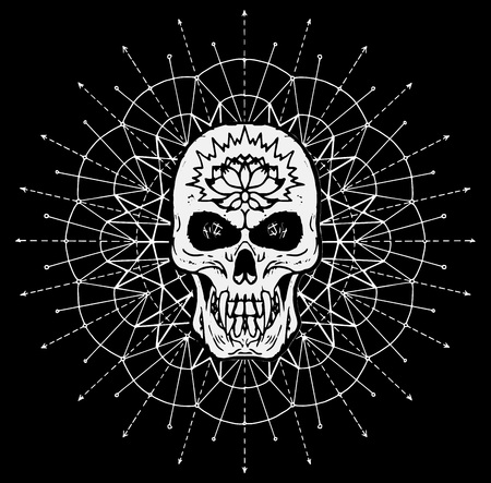 Scary skull against white pattern circle on black background. Esoteric, occult and Halloween concept, mystic vector illustrations for music album, book cover, t-shirts