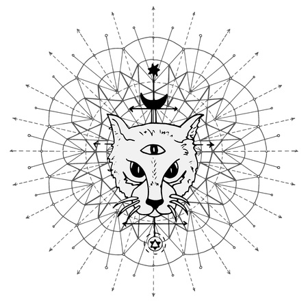 Cat muzzle with mystic symbols against sacred geometry background. Esoteric, occult and Halloween concept, mystic vector illustrations for music album, book cover, t-shirts Vectores