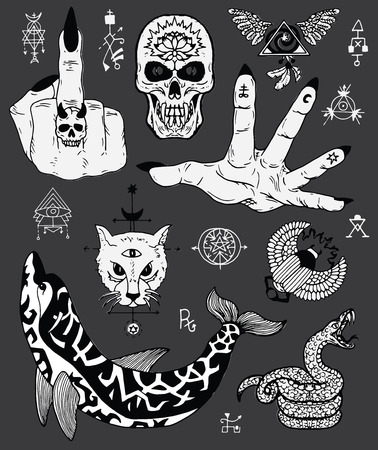 Design set with scary gothic and mystic symbols - skull, dolphin, cat, snake. Esoteric, occult and Halloween concept, mystic vector illustrations for music album, book cover, t-shirts
