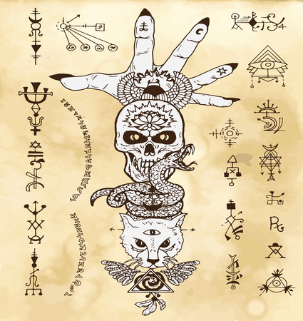 Design set with skull, cat, snake and open palm, with gothic and mystic symbols on old texture background. Esoteric, occult and Halloween concept, mystic vector illustrations for music album, book cover, t-shirts Vektorové ilustrace