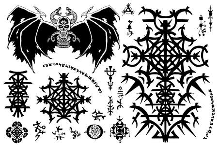 Diseño con símbolos góticos y demonio malvado alado en blanco. Concepto esotérico, oculto y de Halloween, ilustraciones vectoriales místicas para álbumes de música, portadas de libros, camisetas