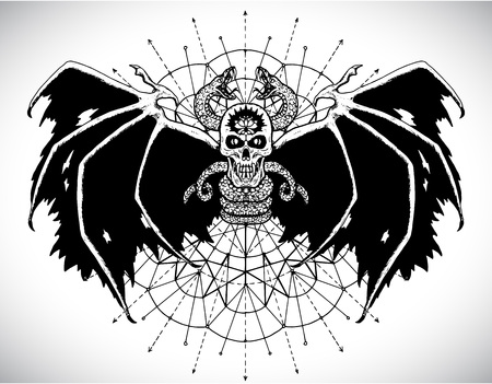 Black demon skull and sacred geometry circle. Esoteric, occult and Halloween concept, mystic vector illustrations for music album, book cover, t-shirts
