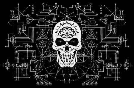 Cráneo malvado contra el fondo sagrado de la geometría en blanco y negro. Concepto esotérico, oculto y de Halloween, ilustraciones vectoriales místicas para álbumes de música, portadas de libros, camisetas