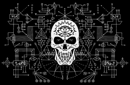 Evil skull against sacred black and white geometry background. Esoteric, occult and Halloween concept, mystic vector illustrations for music album, book cover, t-shirts