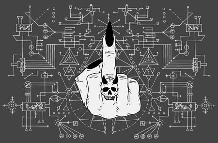 Fuck off finger against sacred geometry background. Esoteric, occult and Halloween concept, mystic vector illustrations for music album, book cover, t-shirts