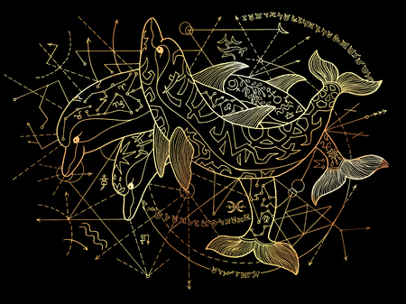 Three golden dolphins with geometric lines on black background. Esoteric, occult, new age and wicca concept, fantasy illustration with mystic symbols and sacred geometry