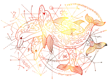 Golden dolphins on white background with geometric lines. Esoteric, occult, new age and wicca concept, fantasy illustration with mystic symbols and sacred geometry