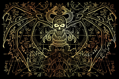 Winged demon and snake with mysterious symbols and geometric line on black. Esoteric, occult, new age and wicca concept, Halloween illustration with mystic symbols and sacred geometry
