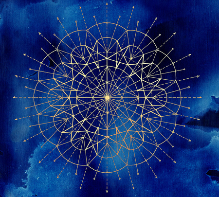 Golden round circle compass on blue textured background. Esoteric, occult, new age and wicca concept, fantasy illustration with mystic symbols and sacred geometry