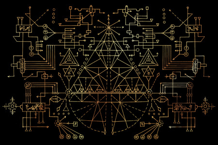 Digital scheme system with golden line and geometric figures on black. Esoteric, occult, new age and wicca concept, fantasy pattern with mystic symbols and sacred geometry Stock Photo