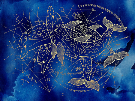 Three golden dolphins on blue background with geometric lines. Esoteric, occult, new age and wicca concept, fantasy illustration with mystic symbols and sacred geometry Stock Illustration - 108809624