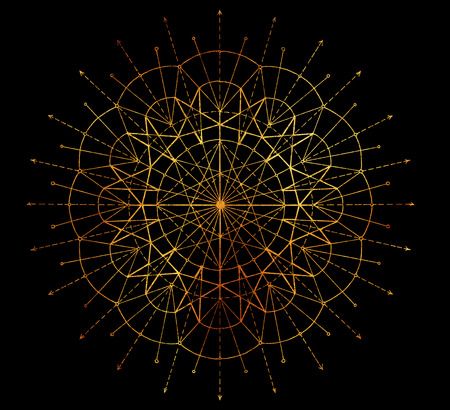 Golden round circle pattern on black background. Esoteric, occult, new age and wicca concept, fantasy pattern with mystic symbols and sacred geometry Stock Photo