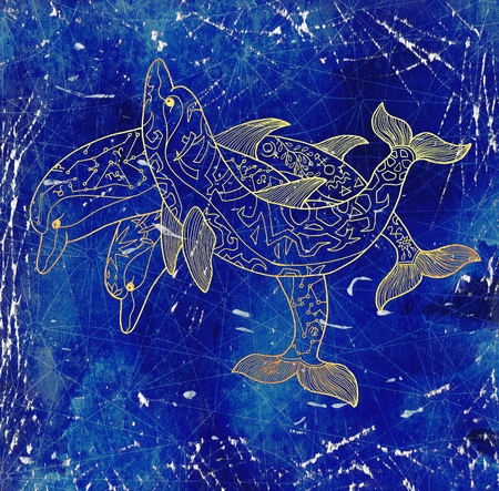 Three golden dolphins against grunge blue textured background. Esoteric, occult, new age and wicca concept, fantasy illustration with mystic symbols and sacred geometry