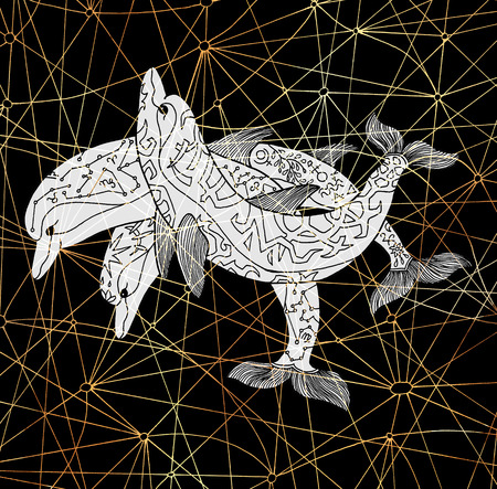 Three decorated dolphins on black background with lines. Esoteric, occult, new age and wicca concept, fantasy illustration with mystic symbols and sacred geometry