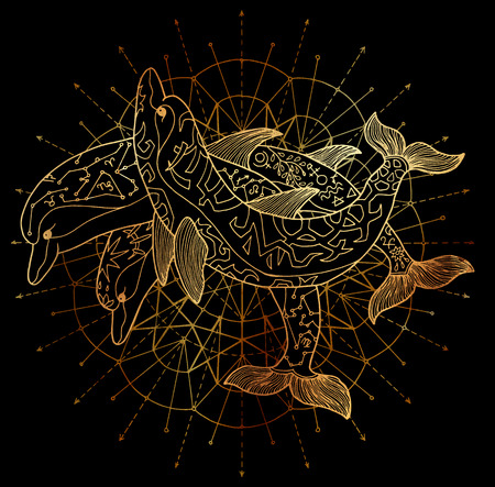 Three golden dolphins and round circle pattern on black background. Esoteric, occult, new age and wicca concept, fantasy illustration with mystic symbols and sacred geometry Stock Photo