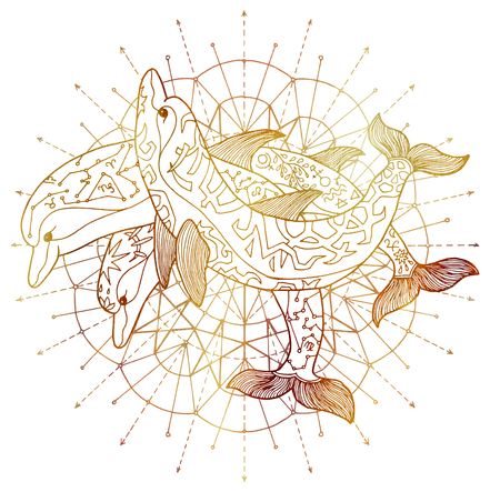 Three golden dolphins and round circle pattern on white background. Esoteric, occult, new age and wicca concept, fantasy illustration with mystic symbols and sacred geometry