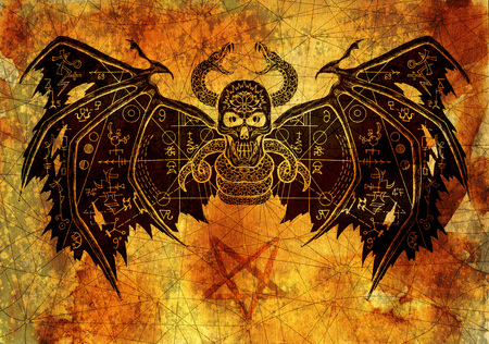 Scary demon with evil symbols on wings against old paper background. Esoteric, occult and Halloween concept, illustration with mystic symbols and sacred geometry Stock Photo