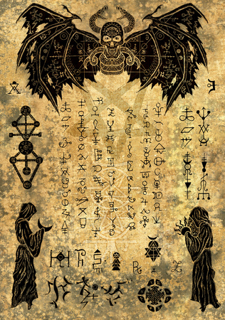 Magic witch book page with evil symbols and drawings on old paper texture. Esoteric, occult and Halloween concept, illustration with mystic symbols and sacred geometry