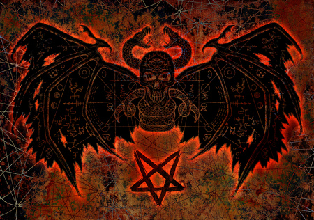 Devil demon with bloody silhouette and pentagram on texture background. Esoteric, occult and Halloween concept, illustration with mystic symbols and sacred geometry
