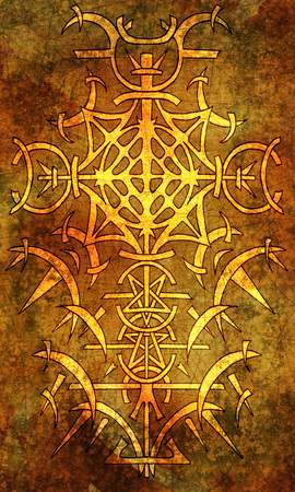 Back cover design of tarot card. Silhouette of gothic pattern on texture background Stock Photo