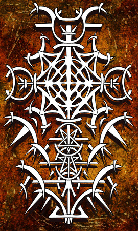 Back cover design of tarot card 17. Gothic pattern on old paper texture background. Esoteric, occult and Halloween concept, illustration with mystic symbols Stock Photo