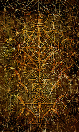 Back cover design of tarot card 16. Gothic pattern on old paper texture background. Esoteric, occult and Halloween concept, illustration with mystic symbols
