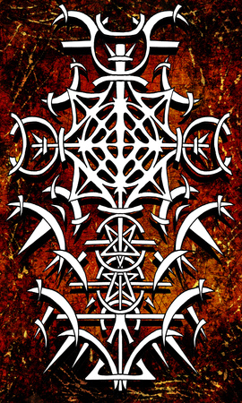 Back cover design of tarot card 15. Gothic pattern on old paper texture background. Esoteric, occult and Halloween concept, illustration with mystic symbols Stock Photo