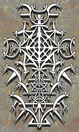 Back cover design of tarot card 14. Gothic pattern on old paper texture background. Esoteric, occult and Halloween concept, illustration with mystic symbols Stock Photo