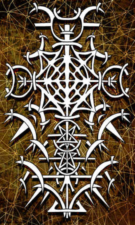 Back cover design of tarot card . Gothic pattern on old paper texture background. Esoteric, occult and Halloween concept, illustration with mystic symbols Stock Photo