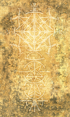 Back cover design of tarot card. Gothic pattern on old paper texture background. Esoteric, occult and Halloween concept, illustration with mystic symbols