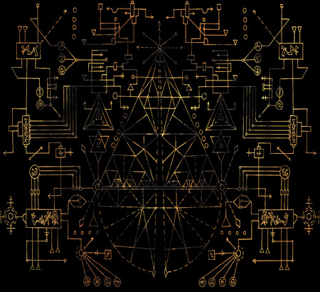 Background with golden geometric lines and figures on black. Esoteric, occult, new age and wicca concept, fantasy pattern with mystic symbols and sacred geometry