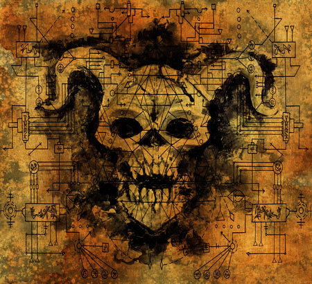 Devil with black geometric figures and mystic symbols on old paper texture. Death symbol, black magic concept. Occult, esoteric and Halloween illustration Stock Photo