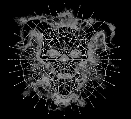Gray devil silhouette with geometric pattern on black. Death symbol, black magic concept. Occult, esoteric and Halloween illustration
