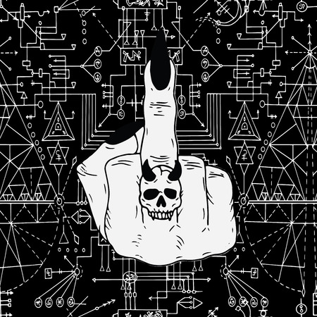 Seamless pattern with geometric lines and fuck off symbol on black. Esoteric, occult and wicca concept, Halloween illustration with mystic symbols and sacred geometry