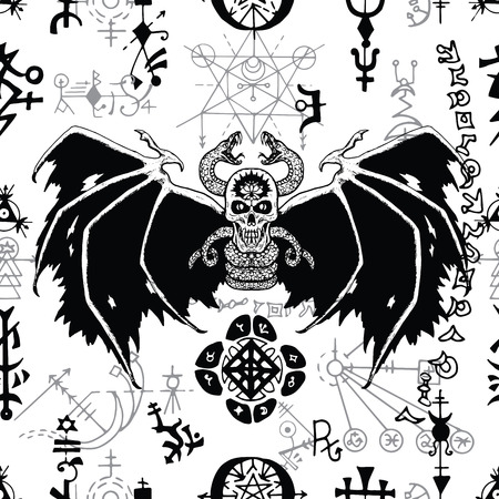Seamless pattern with black winged demon and mysterious symbols on white. Esoteric, occult and wicca concept, Halloween illustration with mystic symbols and sacred geometry
