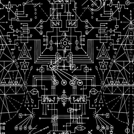神秘的な幾何学的な線と黒のシンボルとのシームレスなパターン。難解、オカルトとウィッカの概念、神秘的なシンボルと神聖な幾何学とハロウィーンのイラスト