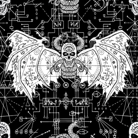 Seamless pattern with devil on black background with mystic geometric lines and signs. Esoteric, occult and wicca concept, Halloween illustration with mystic symbols and sacred geometry