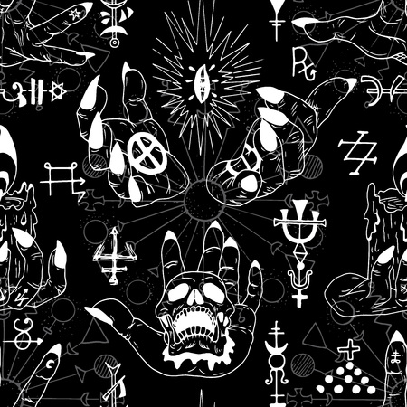 Seamless pattern with magician hands and abstract magic symbols on black. Esoteric, occult and wicca concept, Halloween illustration with mystic symbols and sacred geometry Illustration